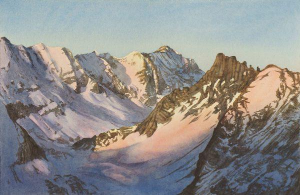 Valdisere France Attew Painting Landscape artist art ski snowboard mountain winter Snow Alpine Alps Montagne Alpes