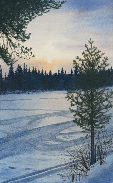 Sweden Lapland Attew Painting Landscape artist art Ray Mears Bushcraft winter Snow konst lavvu Vinter Swedish