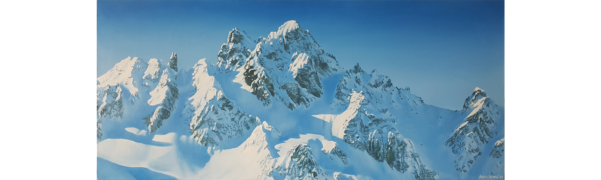 Courchevel France Attew Painting Landscape artist art ski snowboard mountain winter Snow Alpine Alps Montagne Alpes