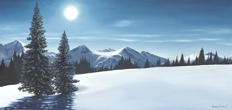 Canada Columbia Attew Painting Landscape artist art ski snowboard mountain winter Snow Alpine Alps kunst berge