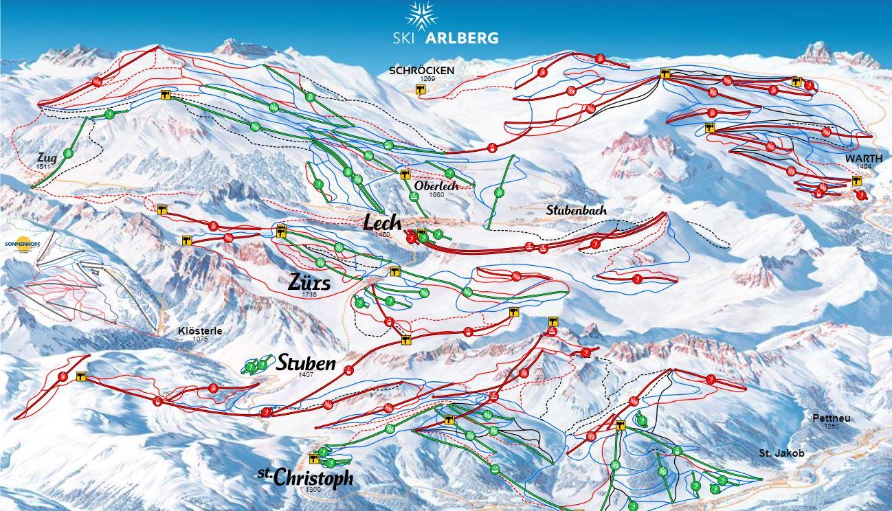 Lech & Zürs Piste Map