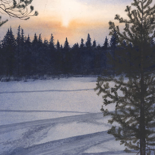 Sweden Lapland Attew Painting Landscape artist art Ray Mears Bushcraft winter Snow konst lavvu Vinter Swedish